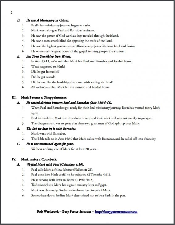 An Annotated Example of a Sermon Outline